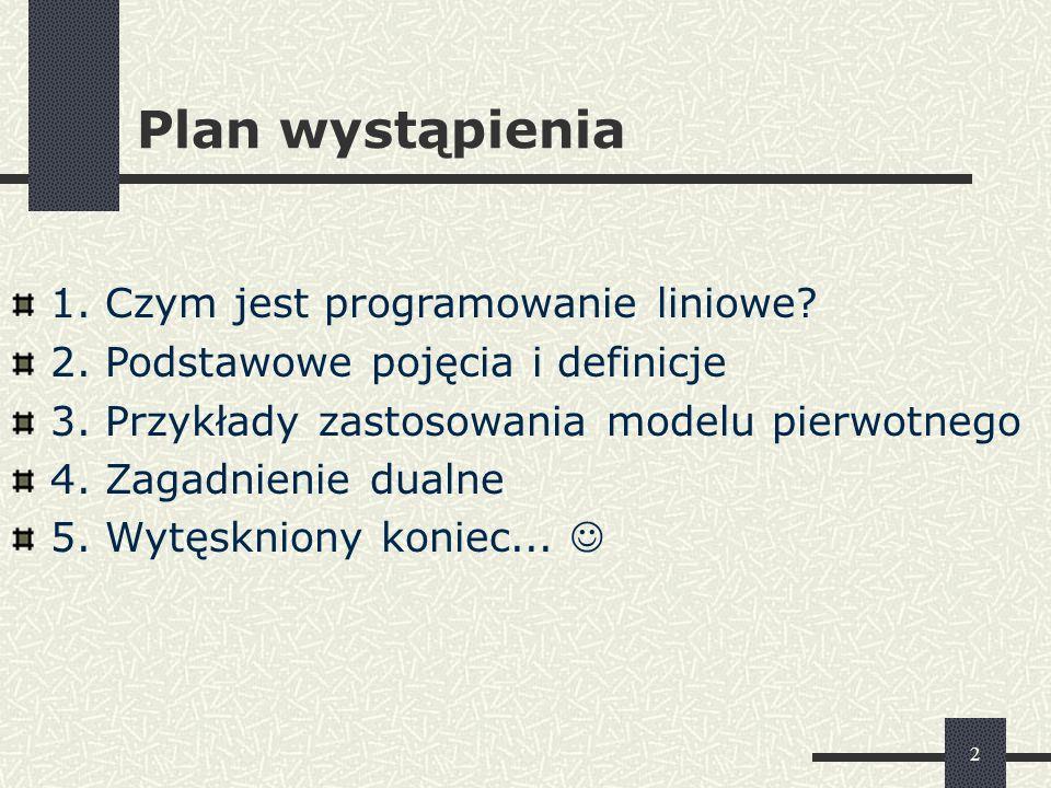 Plan wystąpienia 1. Czym jest programowanie liniowe