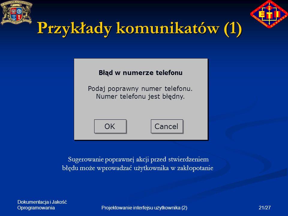 Przykłady komunikatów (1)