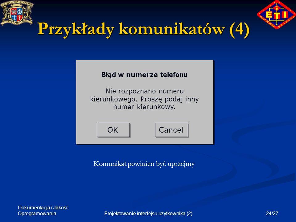 Przykłady komunikatów (4)