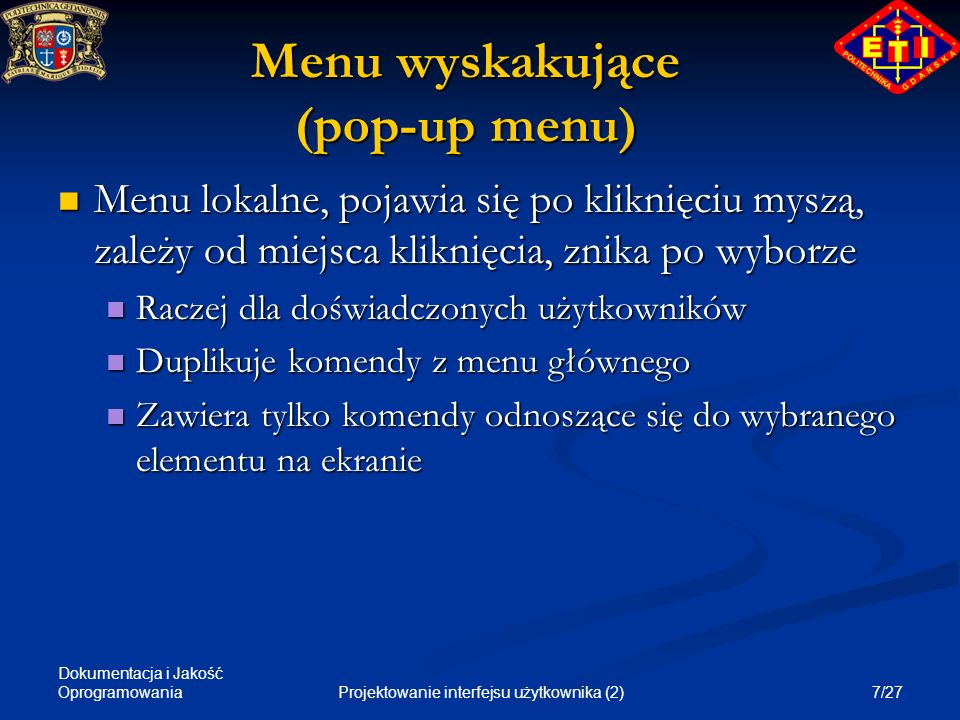 Menu wyskakujące (pop-up menu)