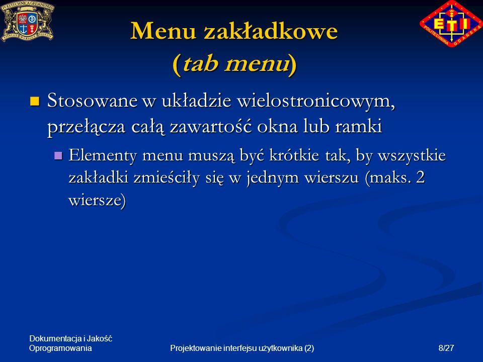 Menu zakładkowe (tab menu)