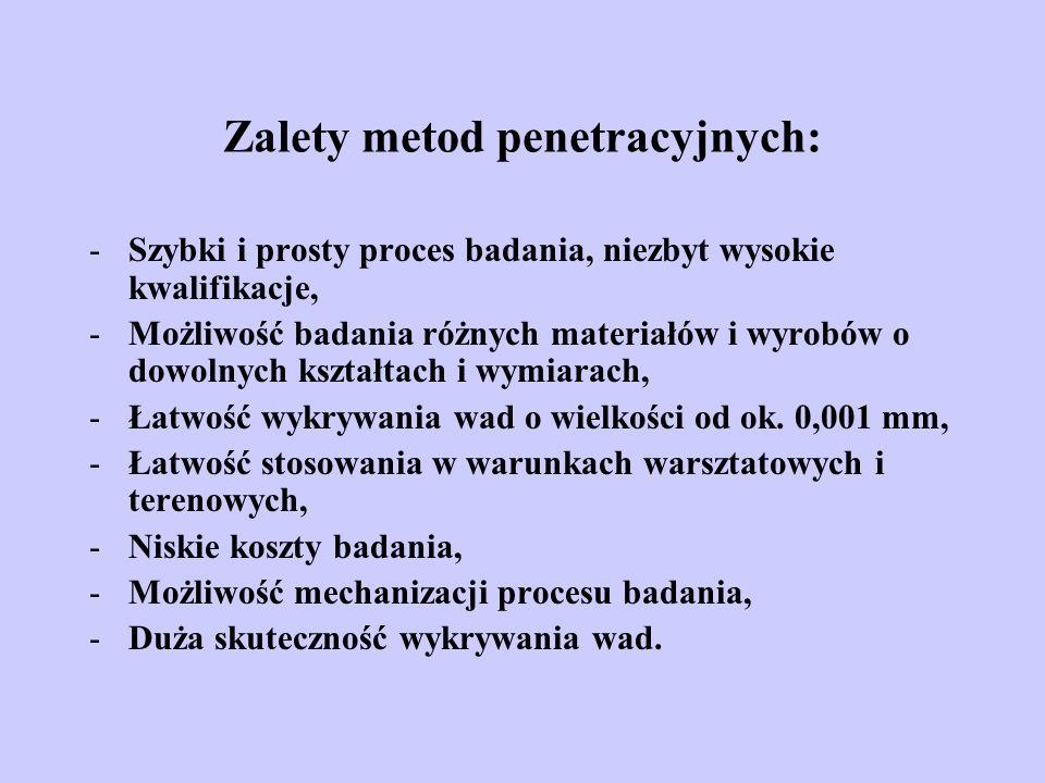 Zalety metod penetracyjnych: