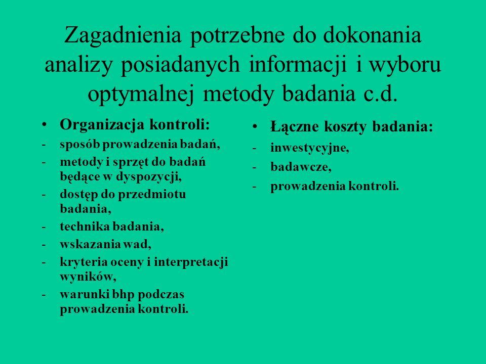 Zagadnienia potrzebne do dokonania analizy posiadanych informacji i wyboru optymalnej metody badania c.d.