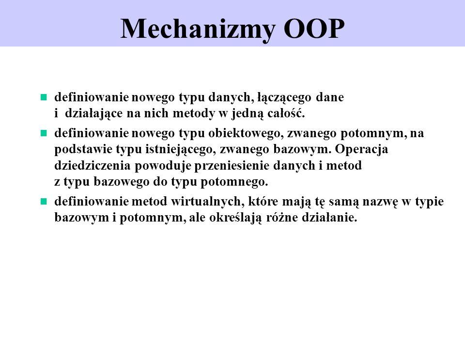 Mechanizmy OOPdefiniowanie nowego typu danych, łączącego dane i działające na nich metody w jedną całość.