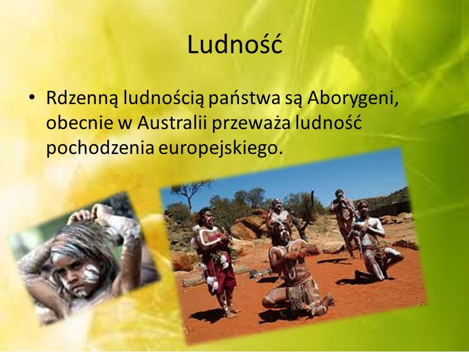 Ludność Rdzenną ludnością państwa są Aborygeni, obecnie w Australii przeważa ludność pochodzenia europejskiego.
