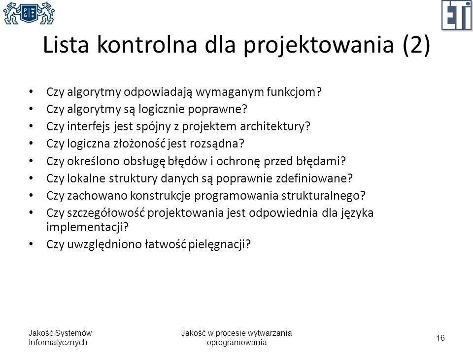Lista kontrolna dla projektowania (2)