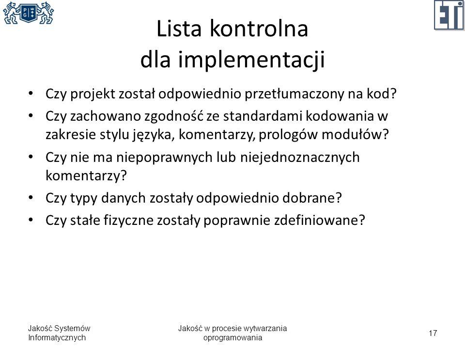 Lista kontrolna dla implementacji