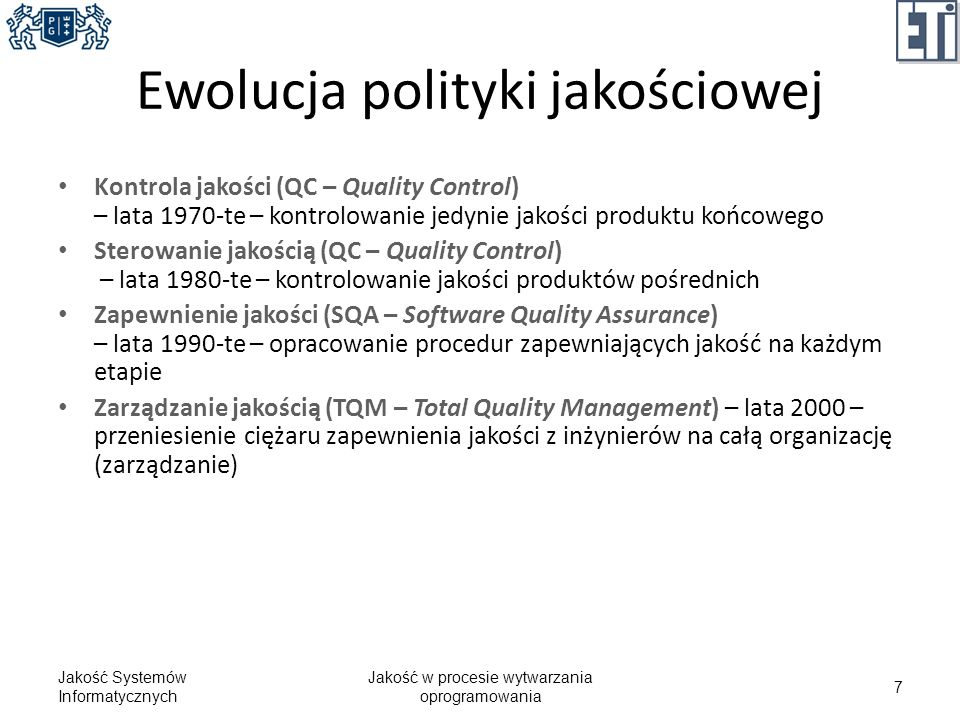 Ewolucja polityki jakościowej