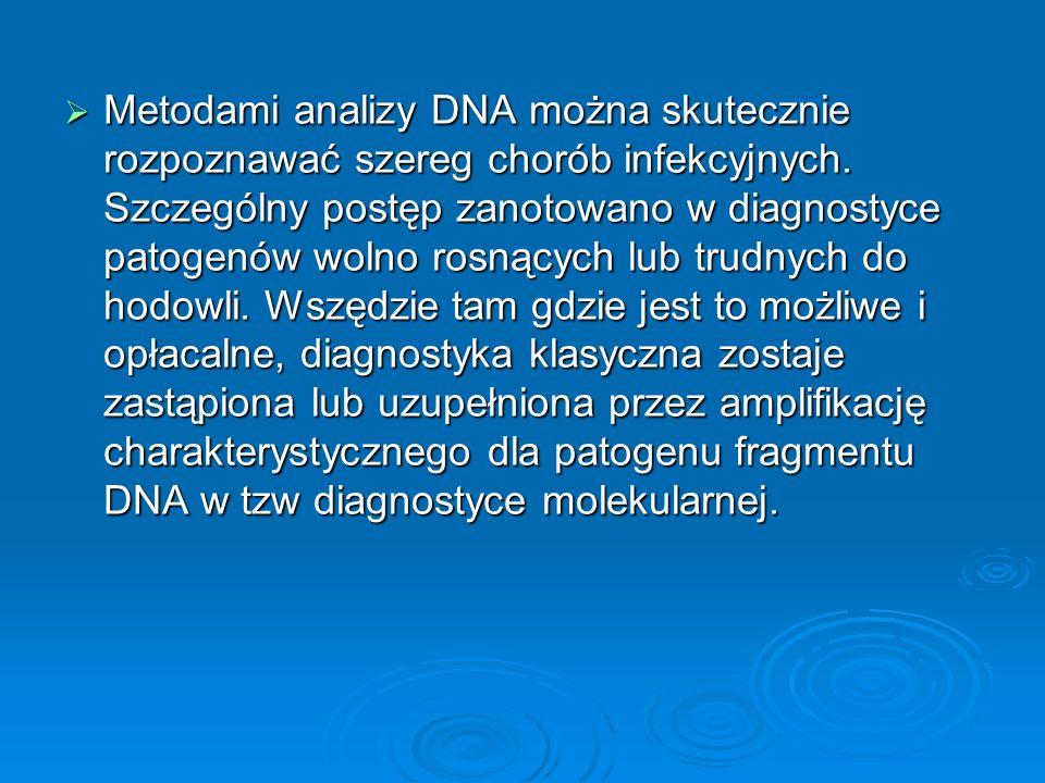 Metodami analizy DNA można skutecznie rozpoznawać szereg chorób infekcyjnych.