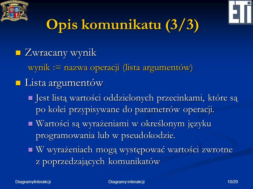 Opis komunikatu (3/3) Zwracany wynik Lista argumentów