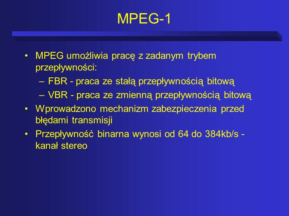 MPEG-1 MPEG umożliwia pracę z zadanym trybem przepływności: