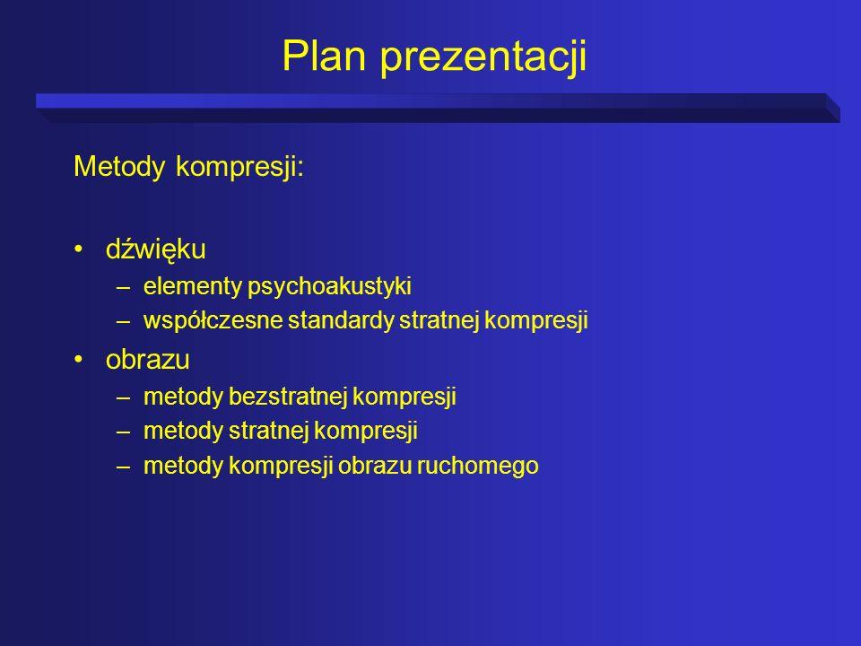 Plan prezentacji Metody kompresji: dźwięku obrazu
