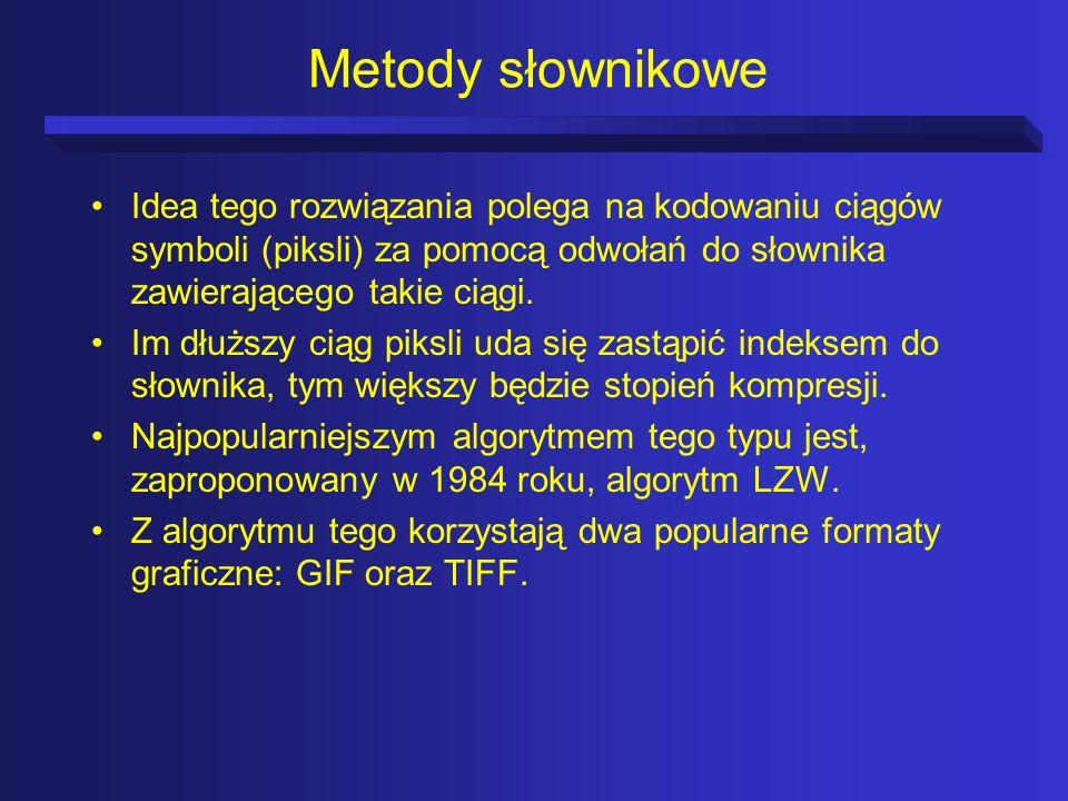 Metody słownikoweIdea tego rozwiązania polega na kodowaniu ciągów symboli (piksli) za pomocą odwołań do słownika zawierającego takie ciągi.