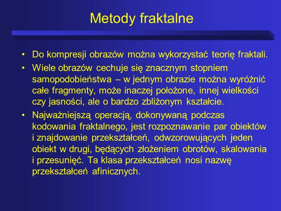 Metody fraktalneDo kompresji obrazów można wykorzystać teorię fraktali.