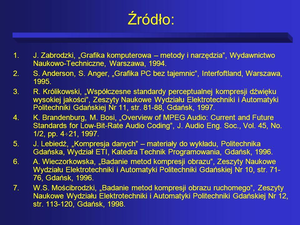 """Źródło:J. Zabrodzki, """"Grafika komputerowa – metody i narzędzia , Wydawnictwo Naukowo-Techniczne, Warszawa, 1994."""