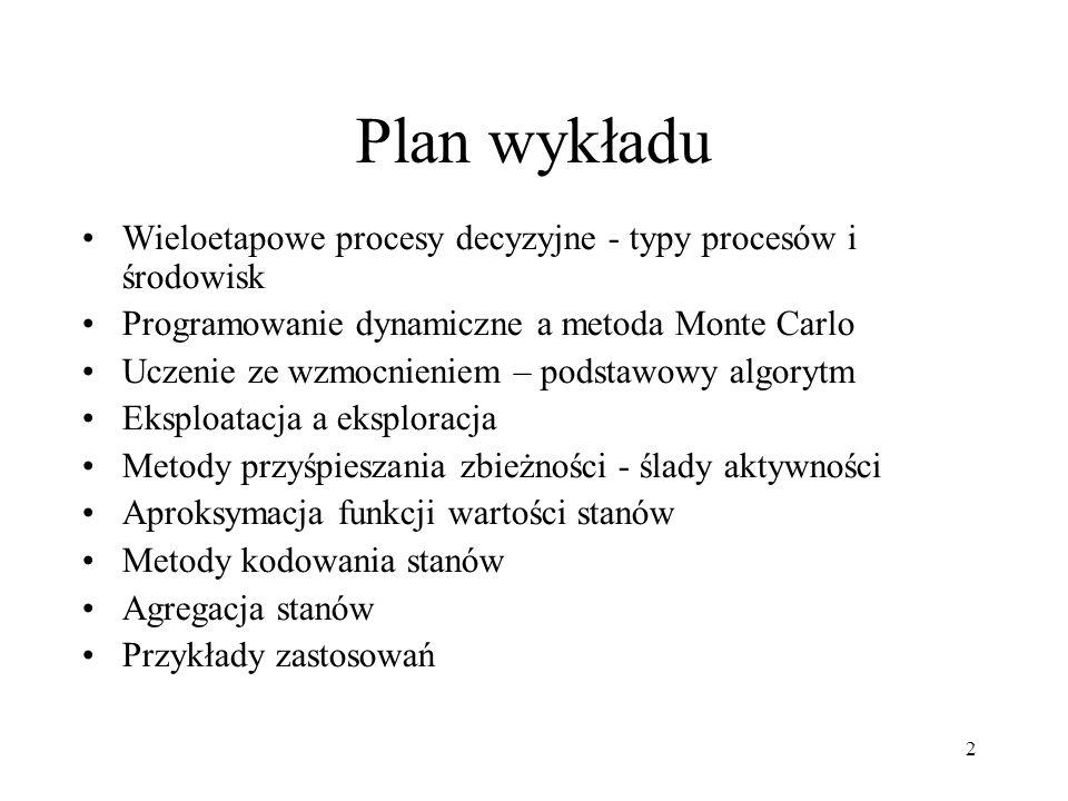 Plan wykładuWieloetapowe procesy decyzyjne - typy procesów i środowisk. Programowanie dynamiczne a metoda Monte Carlo.