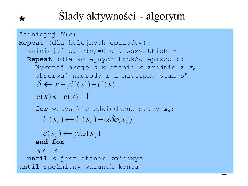 Ślady aktywności - algorytm