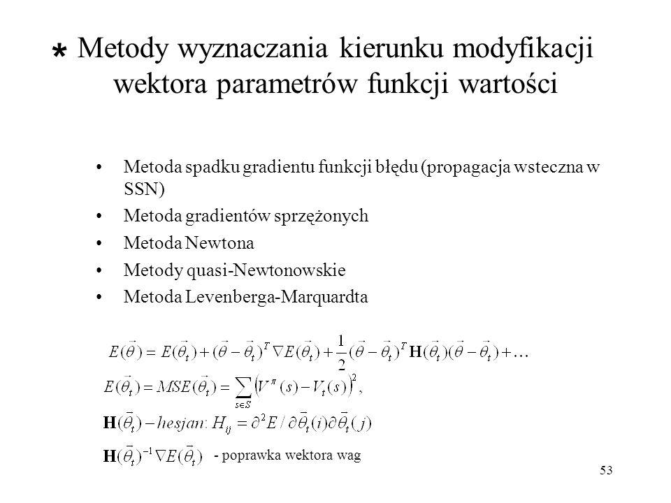 Metody wyznaczania kierunku modyfikacji wektora parametrów funkcji wartości