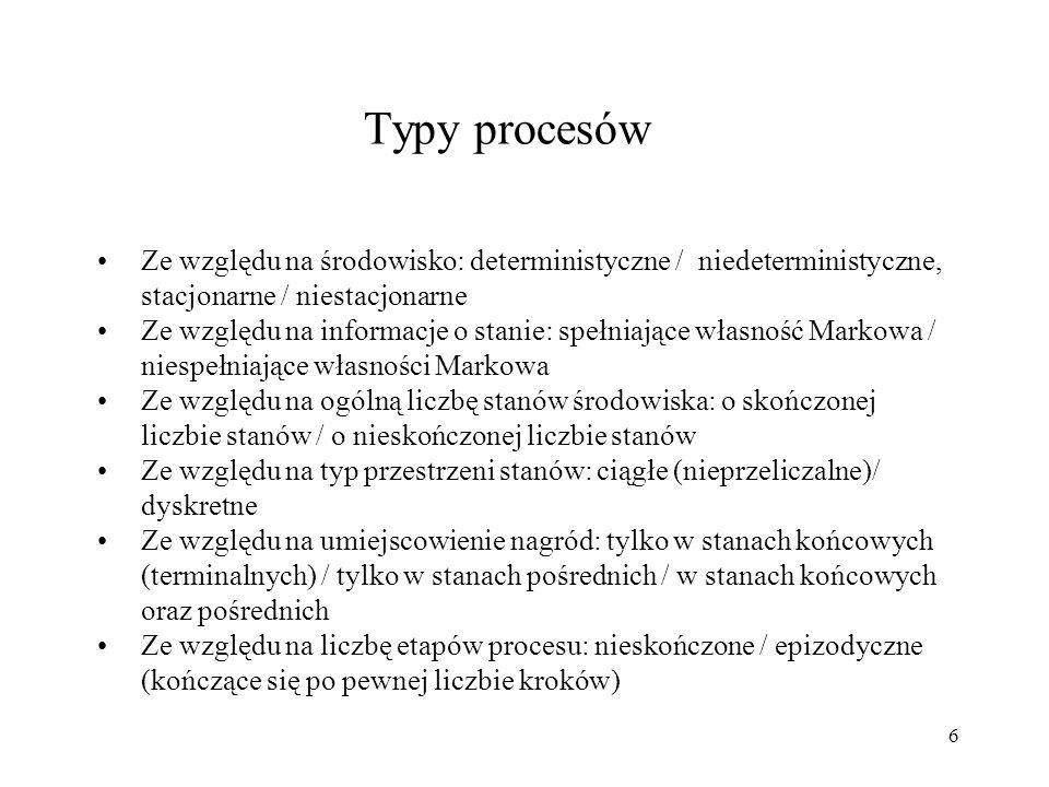 Typy procesów Ze względu na środowisko: deterministyczne / niedeterministyczne, stacjonarne / niestacjonarne.