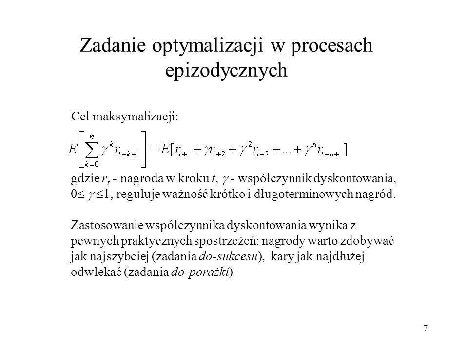 Zadanie optymalizacji w procesach epizodycznych