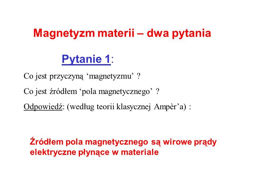 Magnetyzm materii – dwa pytania