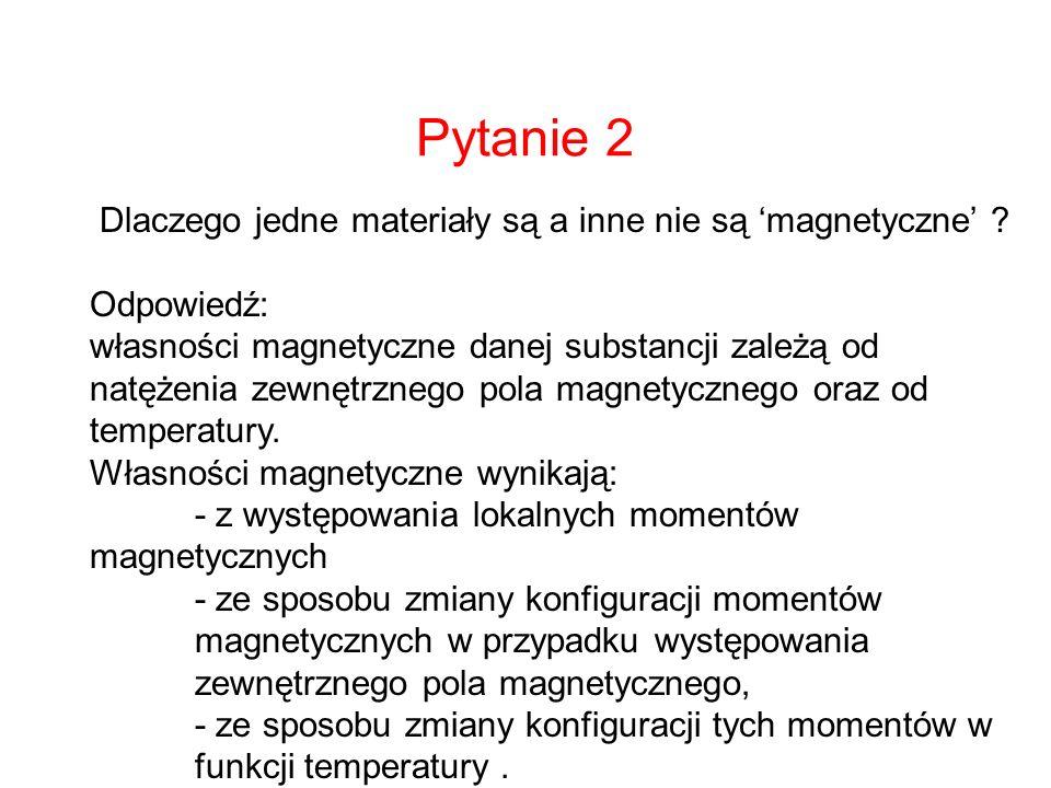 Pytanie 2 Dlaczego jedne materiały są a inne nie są 'magnetyczne'