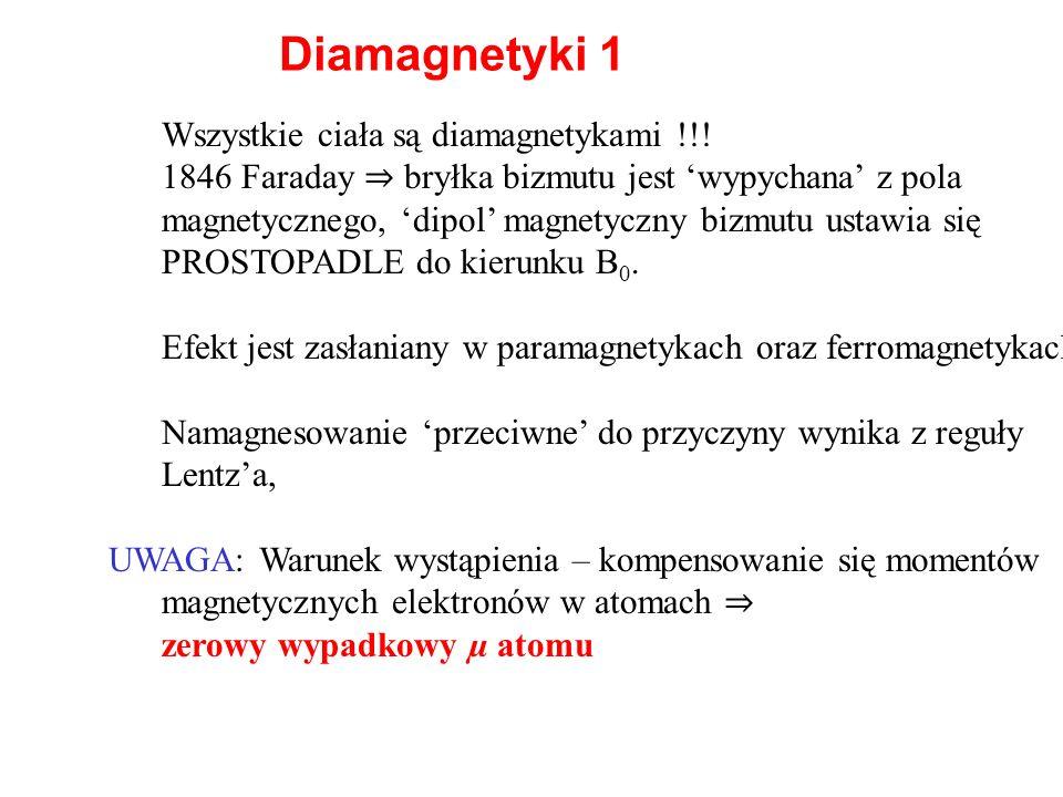Diamagnetyki 1 Wszystkie ciała są diamagnetykami !!!