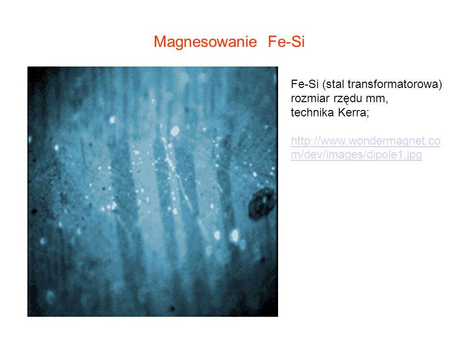 Magnesowanie Fe-Si Fe-Si (stal transformatorowa) rozmiar rzędu mm,