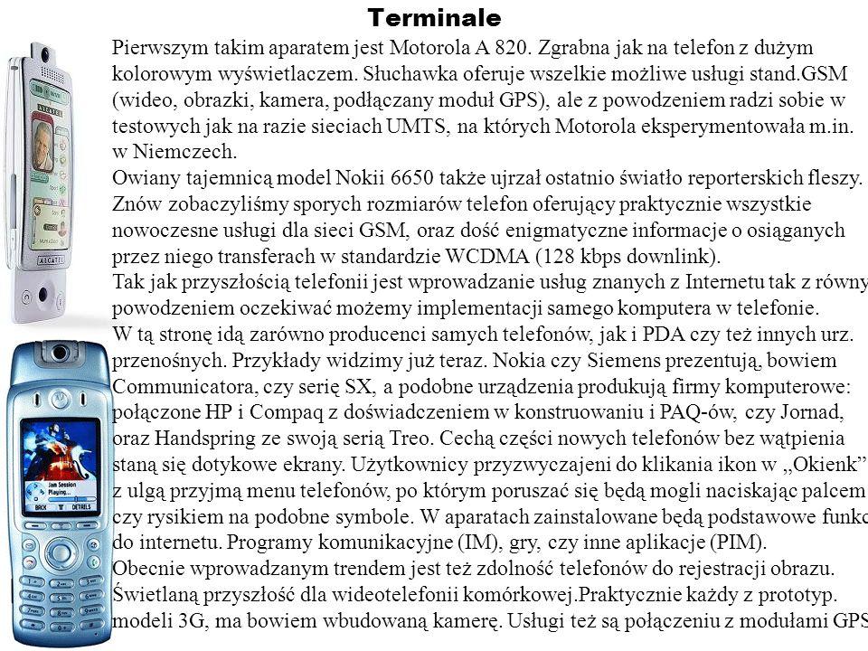TerminalePierwszym takim aparatem jest Motorola A 820. Zgrabna jak na telefon z dużym.