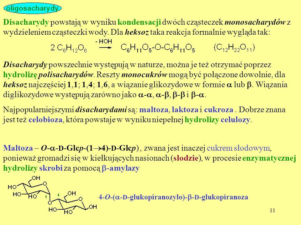 Disacharydy powstają w wyniku kondensacji dwóch cząsteczek monosacharydów z wydzieleniem cząsteczki wody. Dla heksoz taka reakcja formalnie wygląda tak: