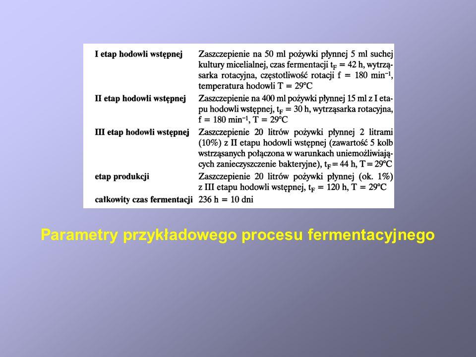 Parametry przykładowego procesu fermentacyjnego