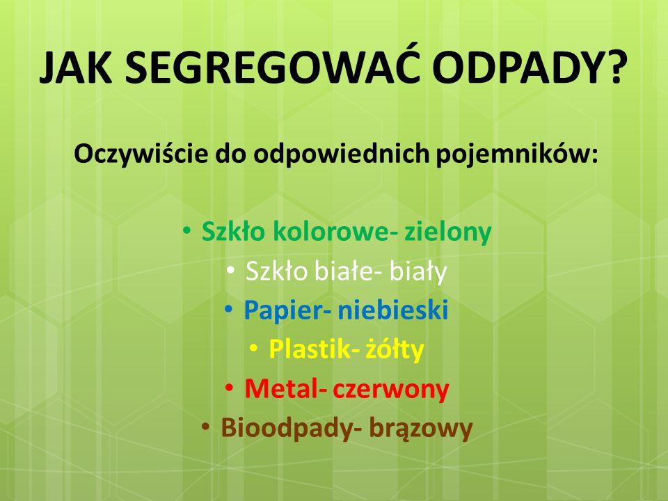 Oczywiście do odpowiednich pojemników: Szkło kolorowe- zielony