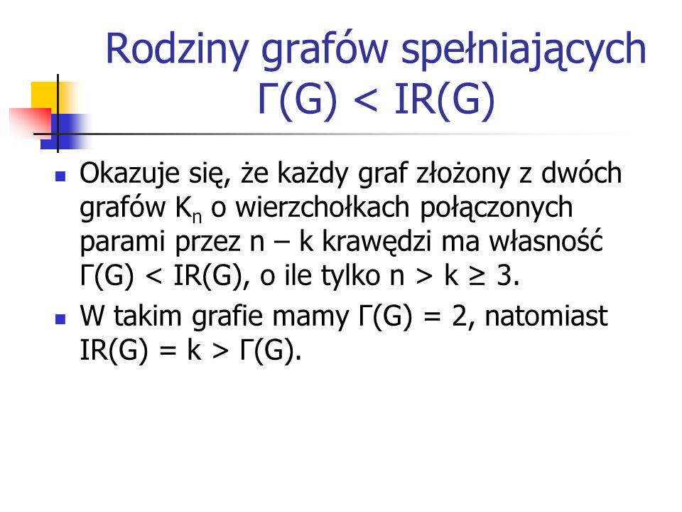 Rodziny grafów spełniających Γ(G) < IR(G)