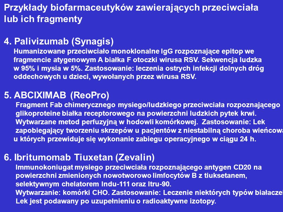 Przykłady biofarmaceutyków zawierających przeciwciała