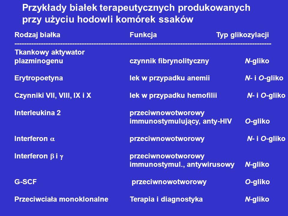 Przykłady białek terapeutycznych produkowanych