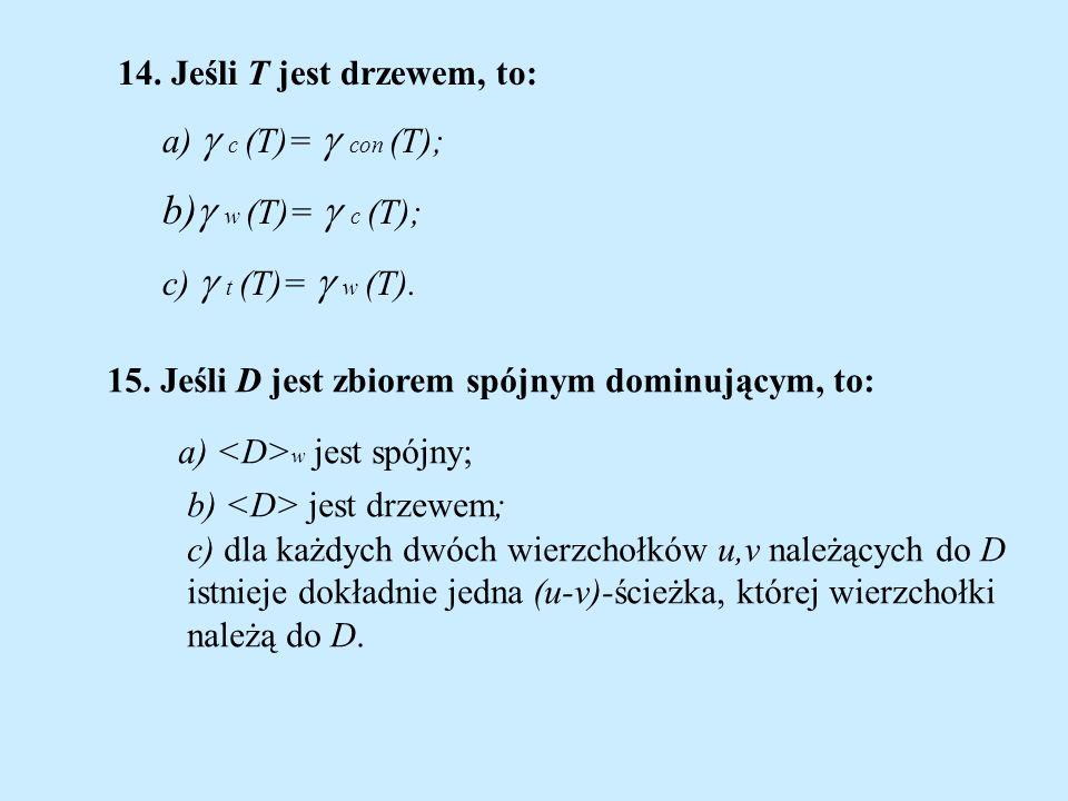 b) w (T)=  c (T); 14. Jeśli T jest drzewem, to: