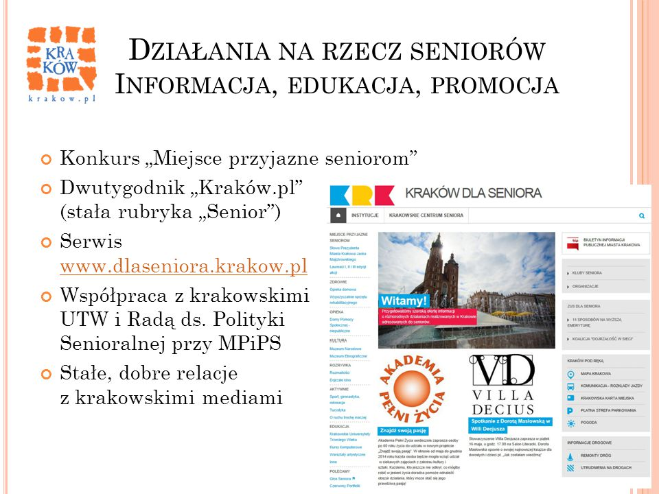 Działania na rzecz seniorów Informacja, edukacja, promocja