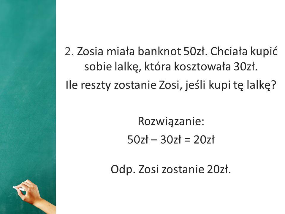 Ile reszty zostanie Zosi, jeśli kupi tę lalkę