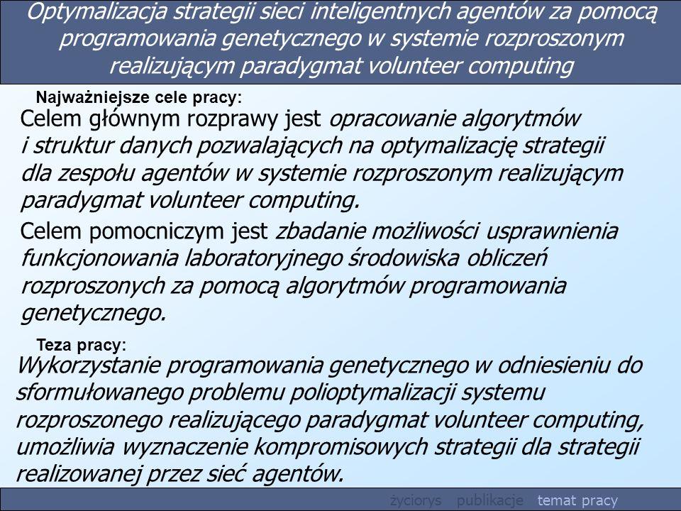 Optymalizacja strategii sieci inteligentnych agentów za pomocą programowania genetycznego w systemie rozproszonym realizującym paradygmat volunteer computing