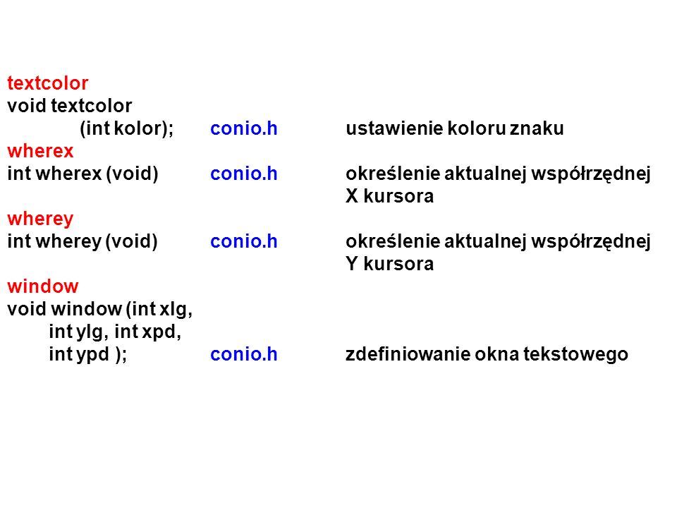 textcolor void textcolor. (int kolor); conio.h ustawienie koloru znaku. wherex.