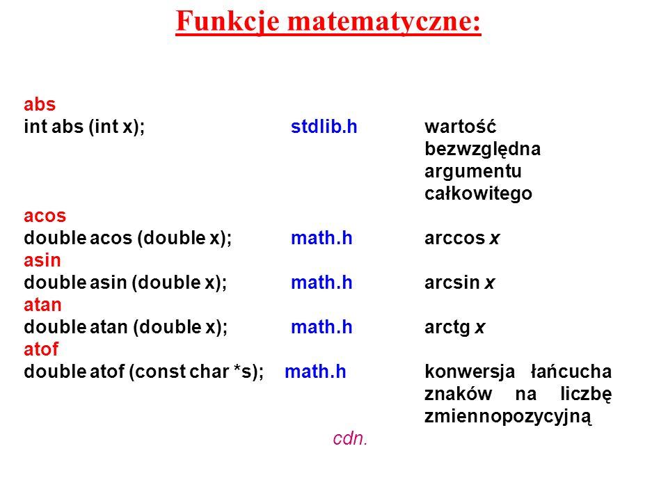 Funkcje matematyczne:
