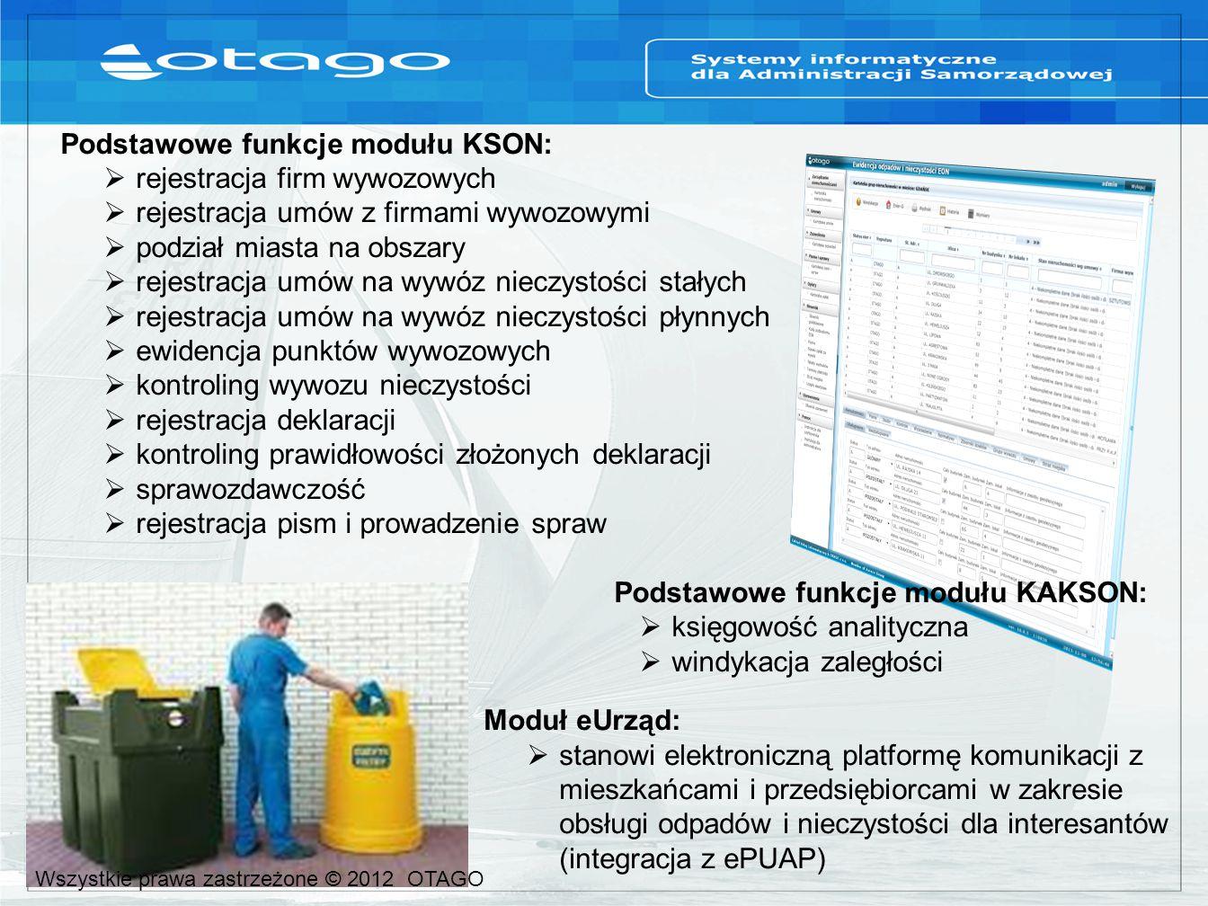 Podstawowe funkcje modułu KSON: rejestracja firm wywozowych