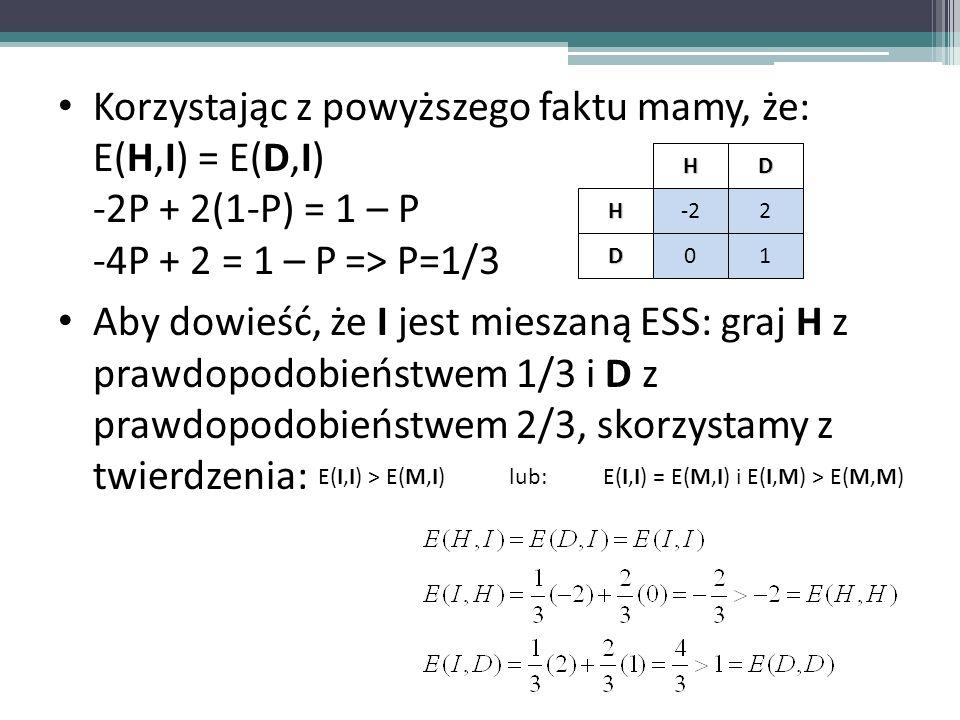 E(I,I) = E(M,I) i E(I,M) > E(M,M)