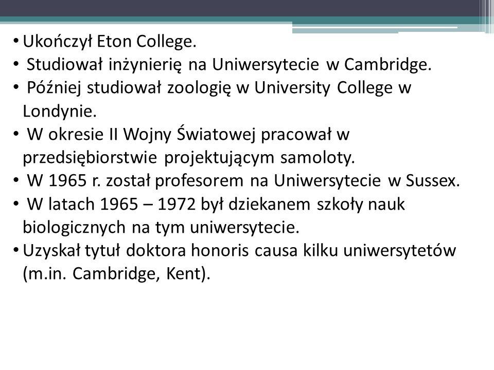 Ukończył Eton College.Studiował inżynierię na Uniwersytecie w Cambridge. Później studiował zoologię w University College w Londynie.