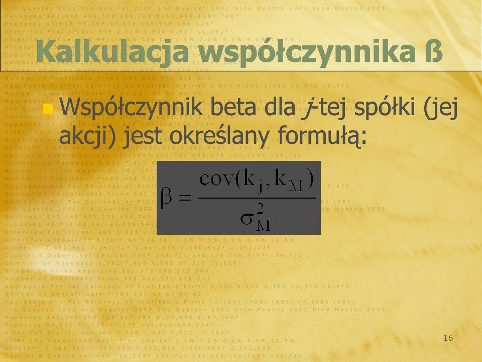 Kalkulacja współczynnika ß