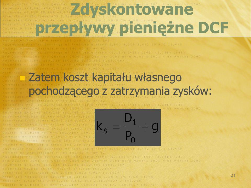 Zdyskontowane przepływy pieniężne DCF