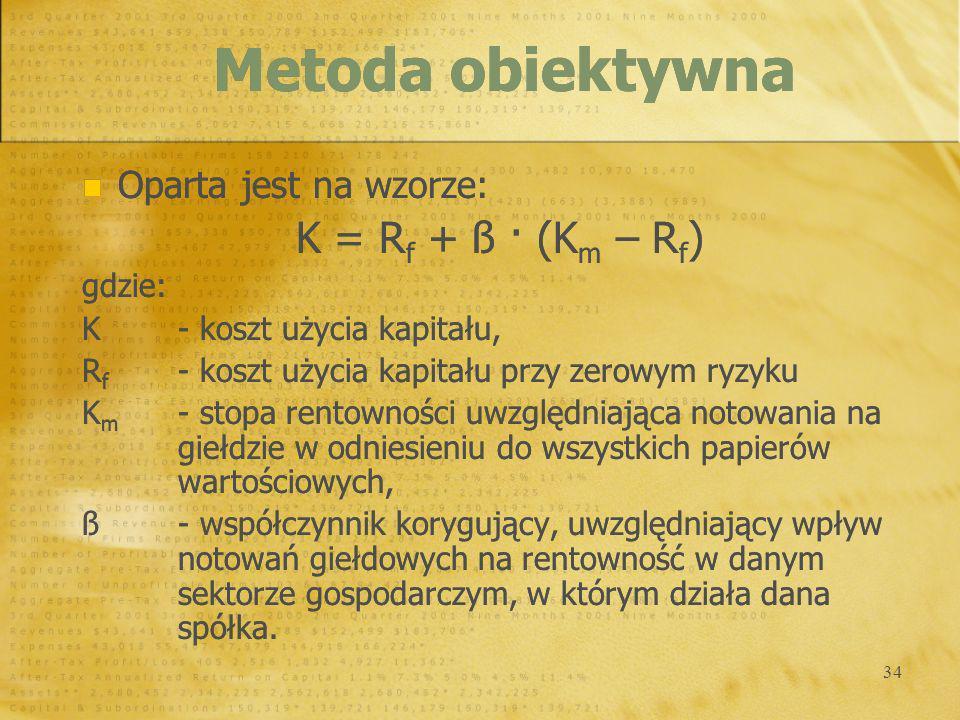 Metoda obiektywna K = Rf + ß · (Km – Rf) Oparta jest na wzorze: gdzie: