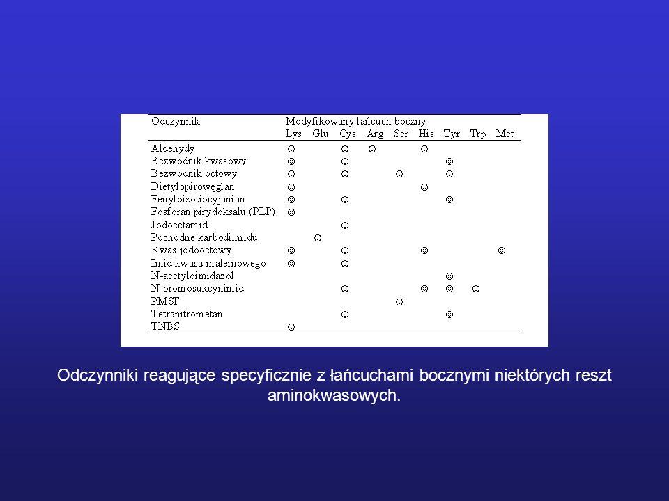 Odczynniki reagujące specyficznie z łańcuchami bocznymi niektórych reszt aminokwasowych.