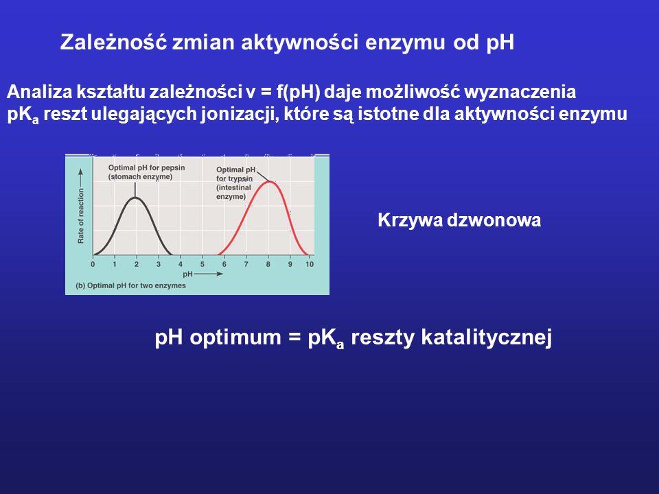 Zależność zmian aktywności enzymu od pH