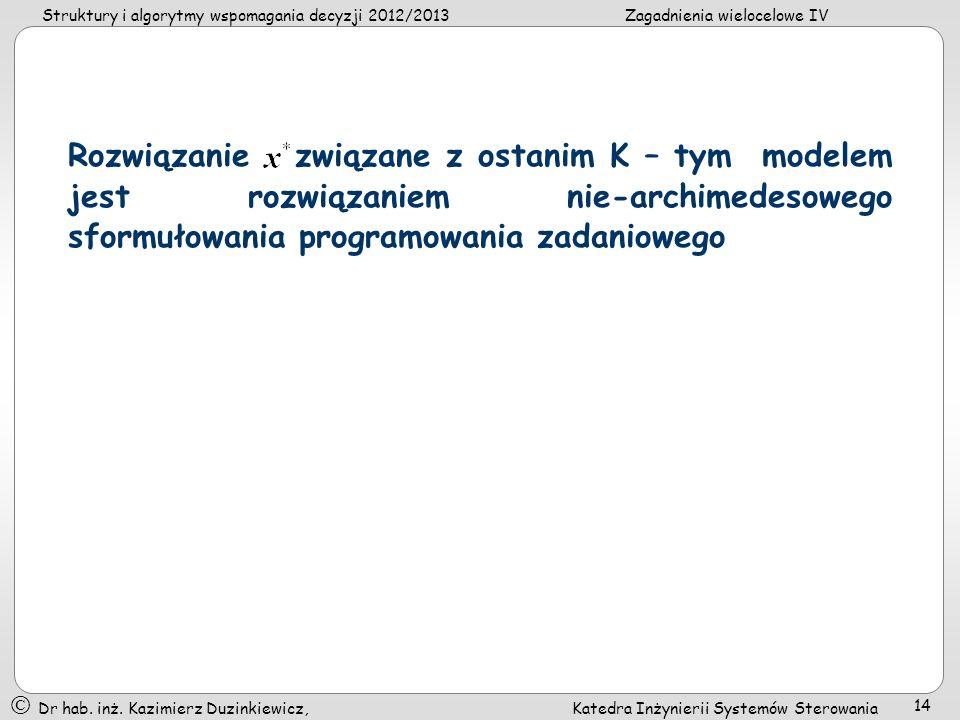 Rozwiązanie związane z ostanim K – tym modelem jest rozwiązaniem nie-archimedesowego sformułowania programowania zadaniowego